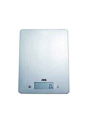 ade báscula de cocina digital ke874 denise. electrónica y ultradelgada. superficie de pesado en acero inoxidable. pese con precisión hasta 5kg. tara. incluye baterías. color plata