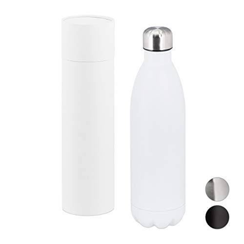 relaxdays botella agua acero inoxidable, cantimplora térmica gimnasio, deporte, hermética, 1 ud, 32,5 x 9 cm, blanco