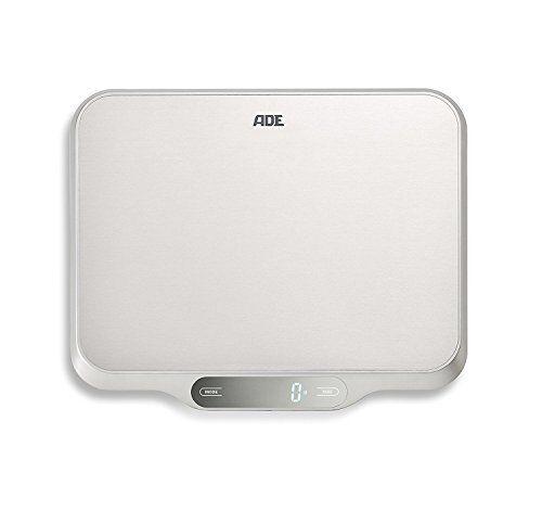 ade báscula digital de cocina ke1601 ladina. superficie xxl acero inoxidable.15 kg. tara auto-hold. incluye baterias. color plata