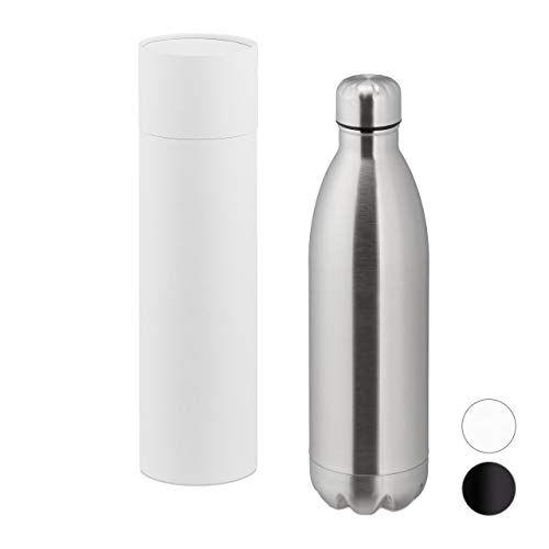 relaxdays botella agua acero inoxidable, cantimplora térmica gimnasio, deporte, hermética, 1 ud, 32,5 x 9 cm, plateado