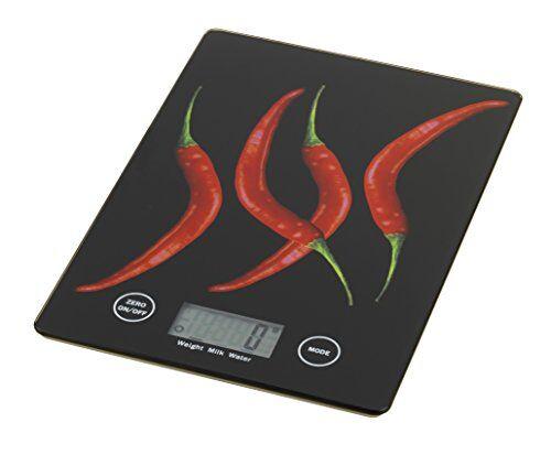 wenko 25223100 báscula de cocina slim pepperoni, 14 x 1,2 x 19,5 cm, multicolor
