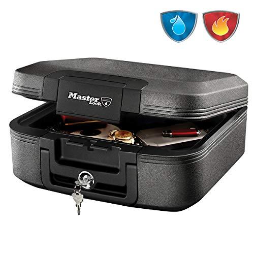 master lock caja fuerte portatil [ignifuga y impermeable] [con llave] [medium] lchw20101 - ideal para a4 documentos, dispositivos electrónicos, soporte multimedia, pequeños
