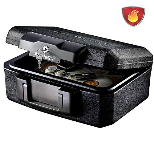 master lock caja fuerte portatil [ignifuga] [con llave] [small] l1200 - ideal para documentos, dispositivos electrónicos, soporte multimedia, pequeños