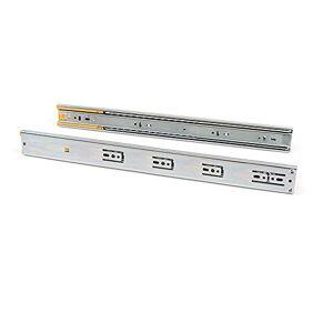 EMUCA - Guías Laterales para cajones con rodamiento de Bolas 45mm x 500mm, Pack de 5 Juegos de guías de extracción Total con Cierre Suave