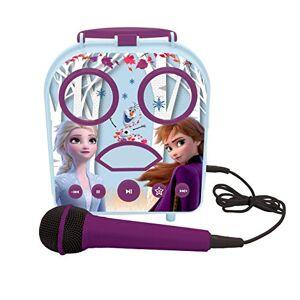 LEXIBOOK- Disney Frozen 2, Anna & Elsa-Karaoke Micro Star inalámbrico, con Bluetooth, micrófono, Toma Auxiliar, Puerto USB, Alta, Color Morado, Talla nica