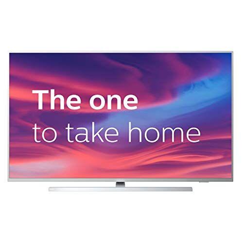 philips televisor philips ambilight 43pus7304/12 smart tv de 108 cm (43 pulgadas) con 4k uhd, led tv, hdr 10+, android tv, google assistant, dolby atmos y compatibilidad con alexa, color plata claro
