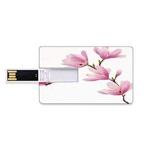 Totun 16GB Unidades flash USB flash Naturaleza Forma de tarjeta de crédito bancaria Clave comercial U Disco de almacenamiento Memory Stick Rama de flor de flores y mariposas rosadas Imagen fresca de la temp