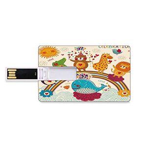 Hohun 8 GB Unidades flash USB flash Decoraciones de cumpleaños para niños Forma de tarjeta de crédito bancaria Clave comercial U Disco de almacenamiento Memory Stick Dibujado a mano trópico de animales salv