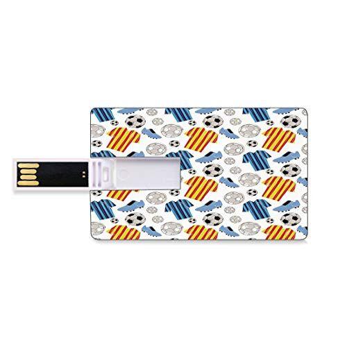 Totun 128GB Unidades flash USB flash Fútbol Forma de tarjeta de crédito bancaria Clave comercial U Disco de almacenamiento Memory Stick Ropa deportiva Jugador profesional Calzado de atleta Estilo dibujado a