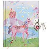 jewelkeeper - diario personal unicornio y arco iris, con candado corazón y dos llaves, diaria secreto