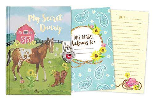 jewelkeeper - diario secreto caballo en establo, con candado corazón y dos llaves, diaria personal