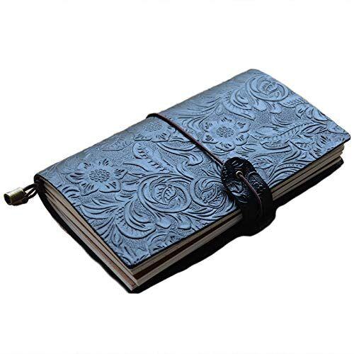 snowinspring diario de viaje recargable de cuero de grano completo negro cuaderno diario patrón en relieve cubierta de bloc de notas diario con correa elástica regalo