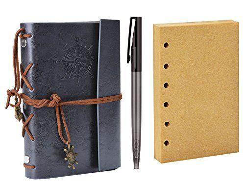 coofit diario de viaje, coofit bloc de notas cuaderno de cuero retro anclaje libreta con 1 bolígrafo y 1 hojas de recambio (gris)
