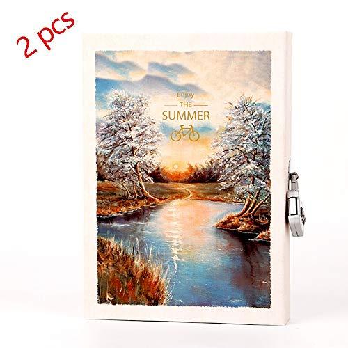 bnsdmm diario diario con el bloqueo en caja multifuncional portátil contraseña libro de dibujos animados for colorear la ilustración de escena de la nieve sun 2 pc regalo de los niños (color : a)