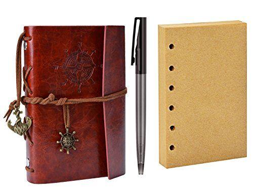 coofit diario de viaje, coofit bloc de notas cuaderno de cuero retro anclaje libreta con 1 bolígrafo y 1 hojas de recambio (rojo)