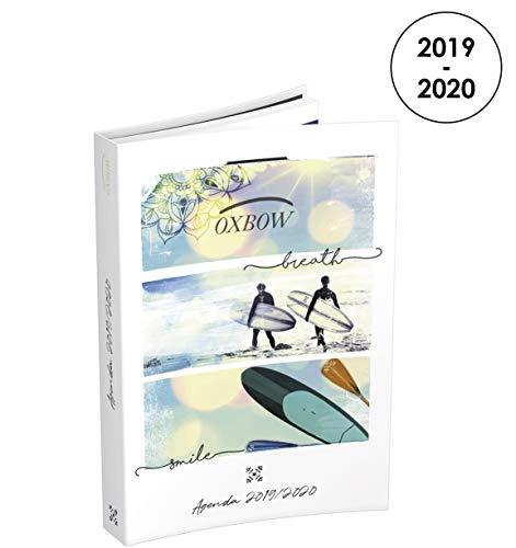 oxbow - agenda diaria 2019  2020 de agosto a agosto  1 día por página en formato 12 x 17 cm, decoración de playa y surf
