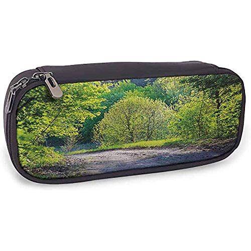kw-wosn lápiz de cuero bolsa primavera uso diario sendero en el bosque por el lago luz del sol reflejando en hojas frescas imagen tranquila; lima