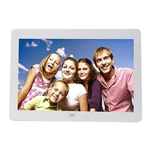 GGQQ TYYC AYTT 14 Pulgadas LED Mostrar Marco de Fotos Digitales Multimedia con Titular y Reproductor de música y película, Soporte USB/SD/MS/MMC Tarjeta de Entrada (Color : White)