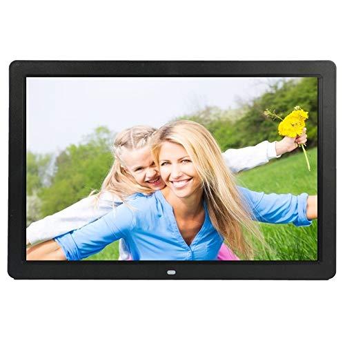YHMC Wsyn AYTT 17 Pulgadas HD 1080P LED Mostrar Marco de Fotos Digital Multimedia con Titular y Reproductor de música y película, Soporte USB/SD/MS/MMC Tarjeta de Entrada (Color : Black)