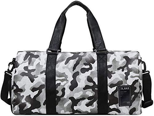 no brand ir a cabo y el paquete de algo que necesita yoga bolsa de deporte de fitness plegable l bolsa de viaje for el equipaje de mano (color : black and white camo)