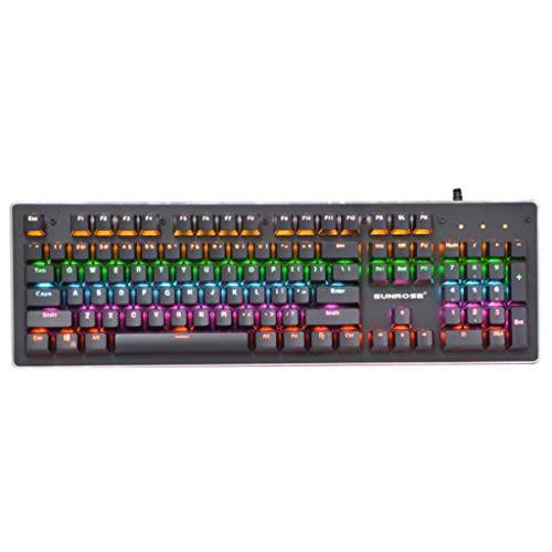 teclado teclado de juego mecánico, teclado de juego con cable usb retroiluminado por led con panel de aleación de aluminio para pc gamers/oficinistas teclado