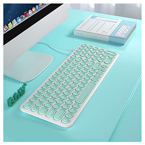 bowcore teclado con cable usb de escritorio ergonómico, cómodo claves del chocolate silenciosa y duradera teclado ultra-delgado pc por cable for pc (color : green)