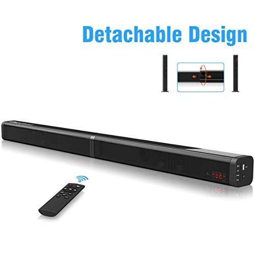 excelvan barra de sonido excelvan barra de sonido inalámbrica desmontable de 40 w con cable auxiliar aux para cable óptico entrada usb ranura para tarjeta tf control remoto para tv/pc/teléfono inteligente
