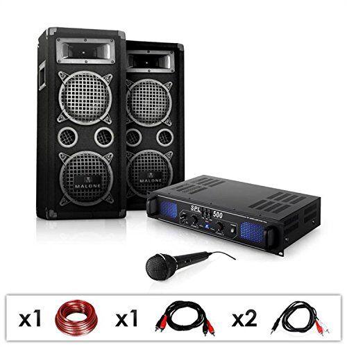 Electronic-Star Set PA DJ-25 Amplificador con Pareja de Altavoces y micrófonos (1600W de Potencia, subwoofers de 20 cm, Equipo para Fiestas y Eventos)