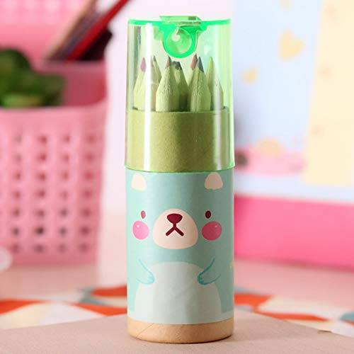 haushele ofd - lápices de colores para pintar de madera para niños, color verde