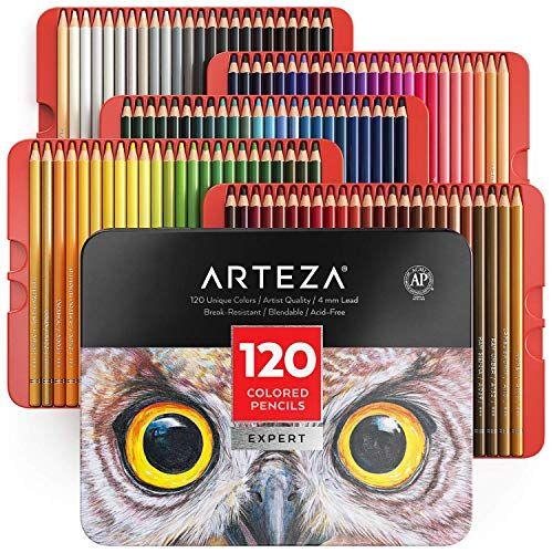 arteza lápices de colores profesionales para adultos y niños   juego de 120   estuche portátil de latón, minas resistentes a las roturas   lápices para colorear, dibujar y sombrear