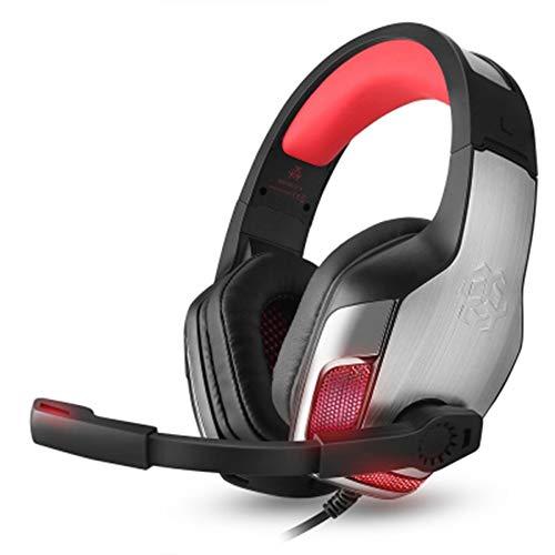 zwh auriculares auriculares bass gaming con luz led de micrófono for teléfono móvil pc xbox pc laptop. (color : red)