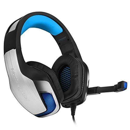 zwh auriculares auriculares bass gaming con luz led de micrófono for teléfono móvil pc xbox pc laptop. (color : blue)