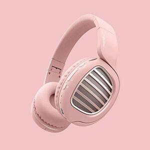 OOPP Auriculares inalámbricos supraurales, auriculares Bluetooth, auriculares ligeros, aislamiento de ruido para viajes, trabajo, TV, PC, teléfono celular, rosa