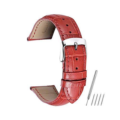 ZWRY Cocodrilo patrón de Cuero Genuino Banda de Reloj de 14mm-24mm Mira la Correa Mujeres Complementos Hombres Watch y Rojo, 18mm