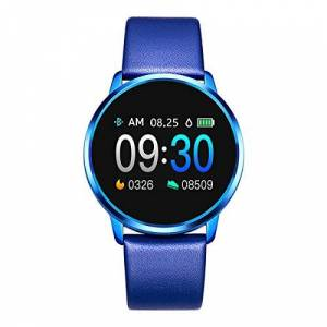 ZssmGood Rundoing Smart Watch OLED Color Screen Smartwatch Hombres Mujeres Fitness Tracker Monitor de Ritmo cardíaco para App H Band, Correa de Cuero Azul