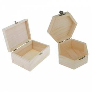 F Fityle 2 Paquete De Caja De Joyería De Madera Inacabada Caja De Almacenamiento De Baratija Vitrina con Tapa