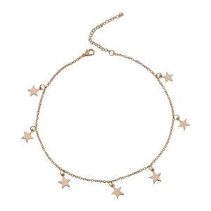 Triamisu Collar de Mujer - Crystal Star Charm Gargantilla para Mujer Oro Crystal Gargantilla Collar Star Charm Gargantilla Ajustable 12-14 Pulgadas - Oro