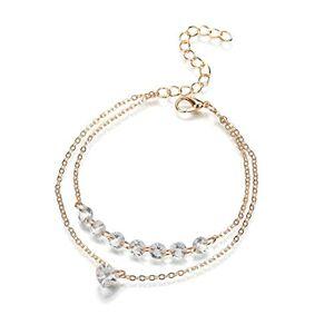 LoveOlvido Moda Simple Pretty Modelo de corazón Medalla Mujeres Rhinestone Crystal Multi Layer Bracelet Bangle Cuff Jewelry - Golden