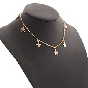 fgjhfghfjghj Crystal Star Charm Gargantilla para Mujer Plata/Oro Crystal Gargantilla Collar Star Charm Gargantilla Ajustable 12-14 Pulgadas