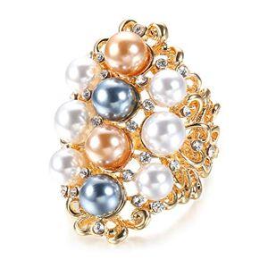 CEREOTH Anillo Chapado en Oro de 14 k para Mujer Flor Calada Incrustaciones de Perlas grabadas circonita Anillo Resistente al deslustre Anillo de Boda de Compromiso(Talla 14)