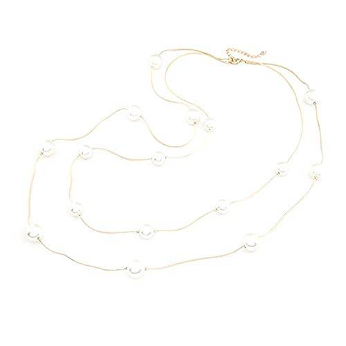 ZengBuks Collar de Perlas de imitación de Estilo Largo para Mujer de Doble Capa Ropa Casual a Juego para Mujer Collar de suéter Femenino Regalo de joyería - Oro
