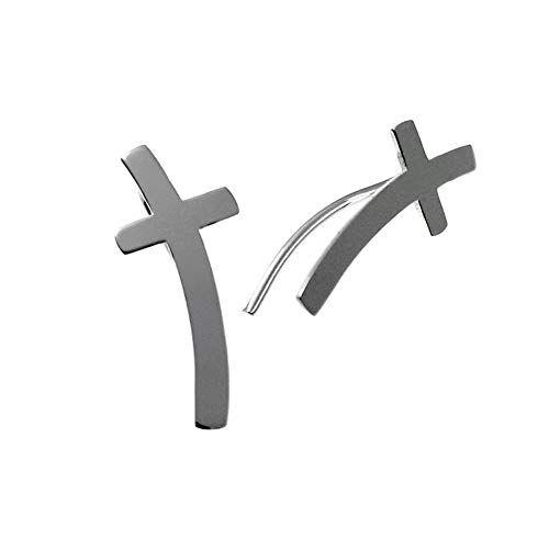 Minoplata Pendientes trepadores cruz de Plata de ley una joya de moda para mujeres que adoran los complementos