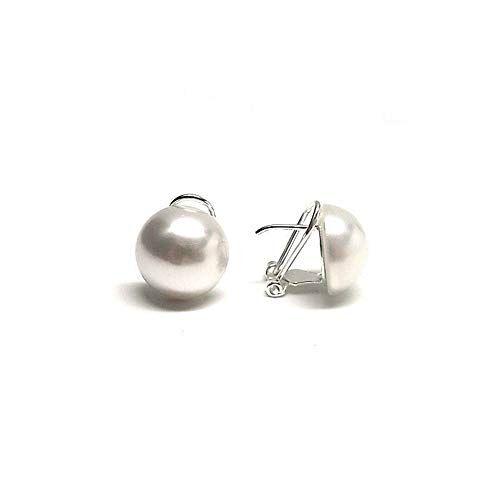 Minoplata Pendientes media Perla 14 Mm. de diámetro con cierre omega de Plata de ley, una joya de diseño clásico para mujeres que adoran los complementos que jamás pasan de moda