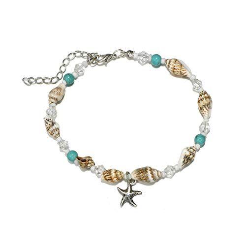 YAZILIND caracola Perlas Calzado Estrella de mar Colgante Shell Boho Pulsera de Tobillo Mujeres joyería