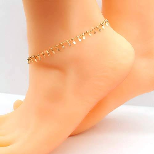 Cool-House-UK Sencillo pequeñas Piezas de Tobillera Exquisito Estilo Fresco K109 Calzado de joyería de Oro
