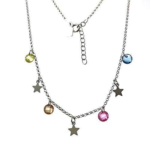 Minoplata Gargantilla Estrellas y Circonitas Colores en Plata de Ley el Collar de Moda Que no Puede faltar en tu joyero si Eres una Mujer Que Adora los complementos de Moda