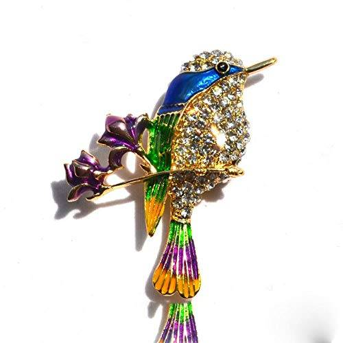 PENVEAT Elegante Pin de color dorado para mujer, regalos de colibrí, diamantes de imitación, pin de pecho, accesorios de mezcla de colores, joyería pintada, broche de pájaro, ropa, color, color dorado