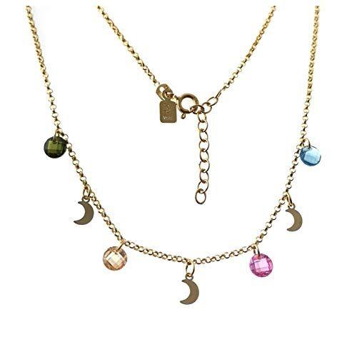 Minoplata Gargantilla en Plata Dorada con Lunas y circonitas de Colores el Collar de Moda para Mujeres Que adoran los complementos sofisticados