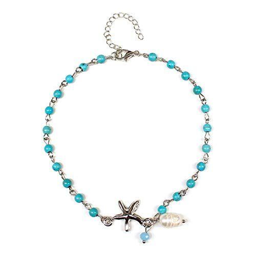 Cool-House-UK Joyería de Perlas de aleación de Estrellas de mar de la Turquesa Mujer Tobillera Personalidad Creativa Playa de Calzado K142, Plata