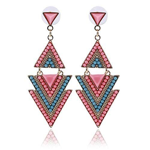 ESjasnyfall Pendientes colgantes con forma de triángulo de esmalte multicolor de moda para mujer (aleatorio) ESjasnyfall